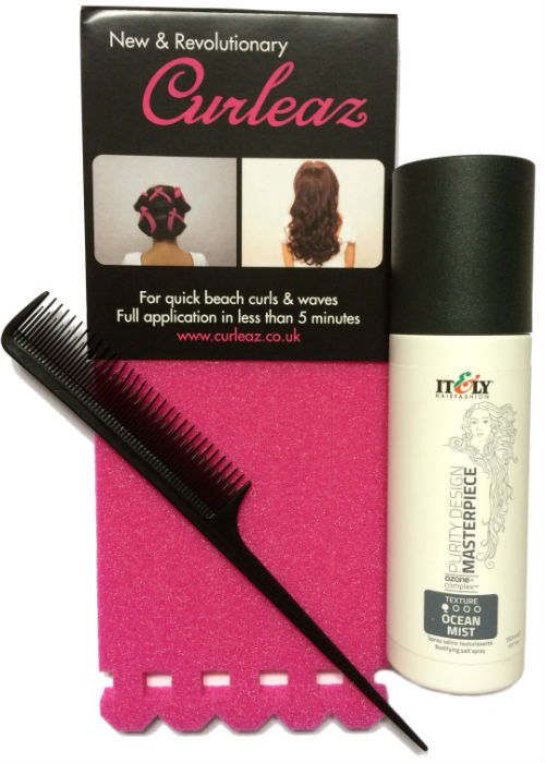 Curleaz Kit including 1 x pack of Curleaz, 1 x beach wave hair spray and 1 x tail comb